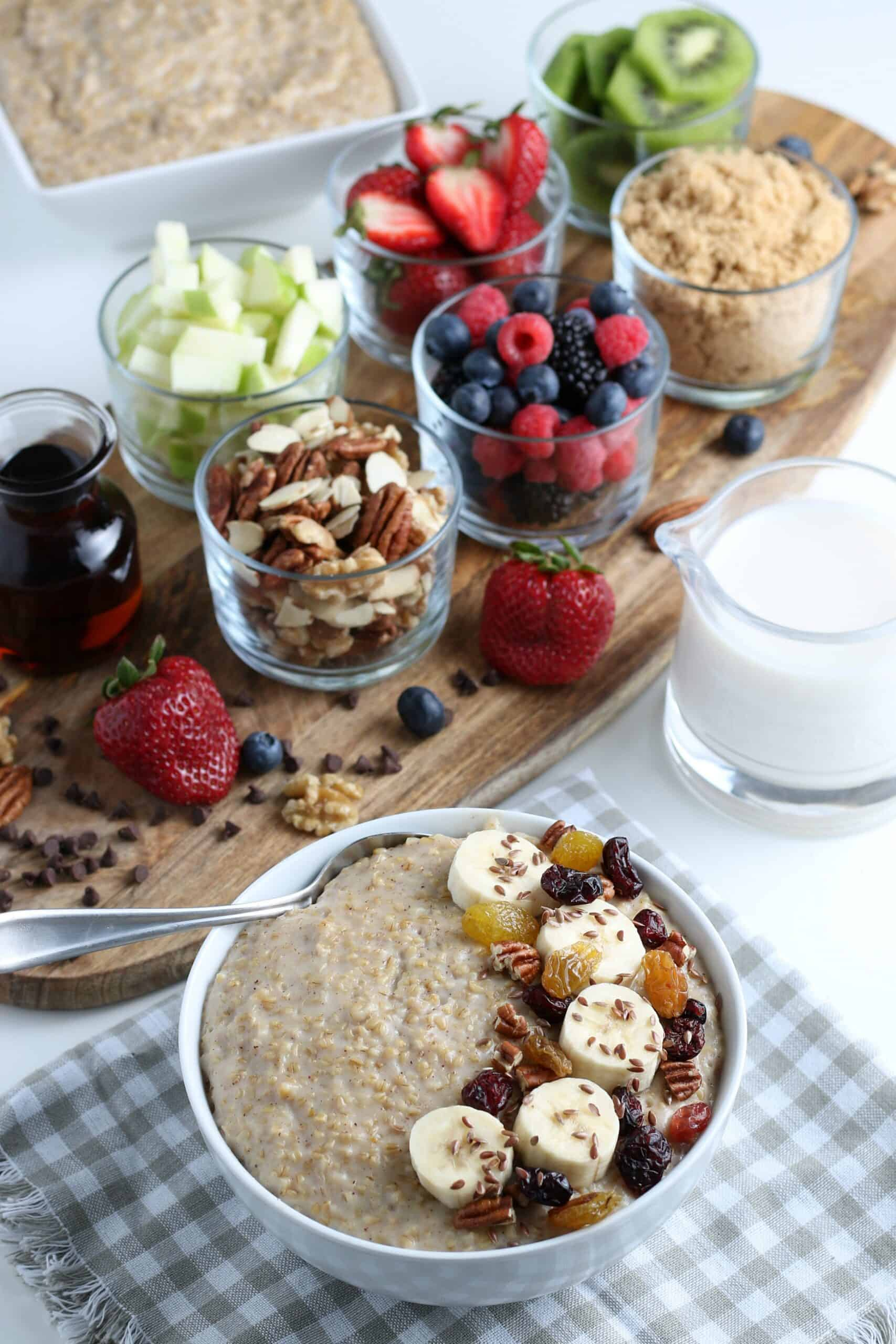 full shot of bowl oatmeal and toppings