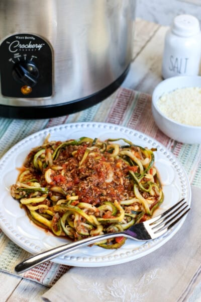 slow cooker and zoodles