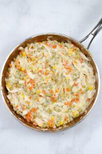 Vegetables in saute pan