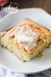 sliced cornbread with butter