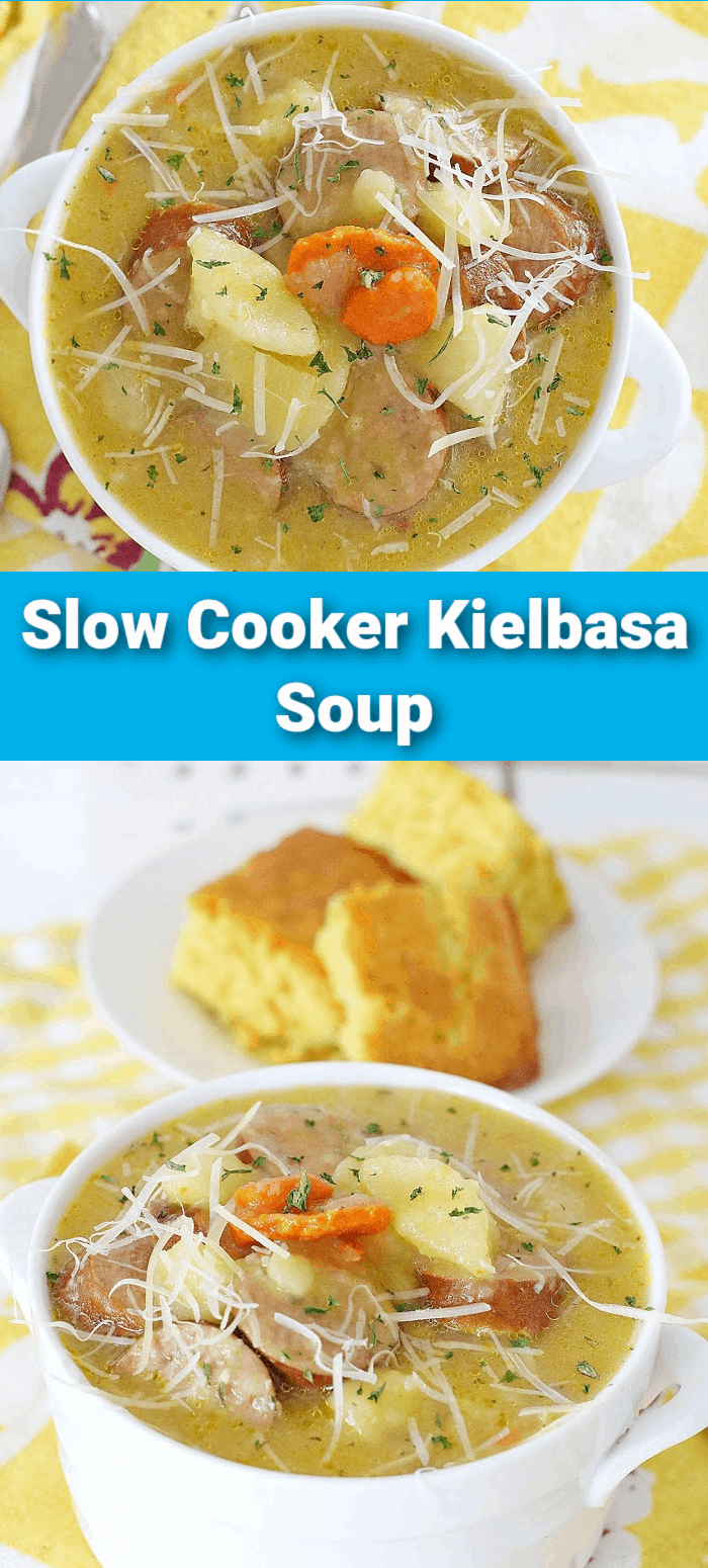 This hearty crockpot soup recipe is a delightfully savory meal that's full of flavorful vegetables and smoky kielbasa. There's nothing better than a cozy bowl of this Kielbasa Soup to help warm you up! via @Mooreorlesscook