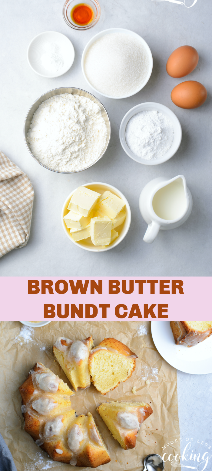 Super moist and overflowing with buttery goodness, this Brown Butter Bundt Cake is a go-to dessert that's perfect for any occasion. It's simple, outrageously delicious, and is made with common pantry ingredients! via @Mooreorlesscook